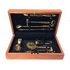 Vintage 9 piece brass bar tool set in wooden box!