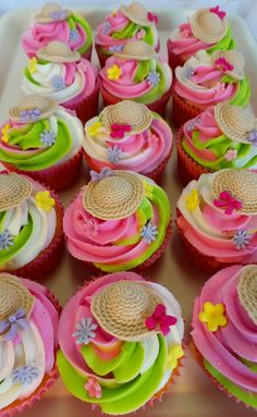 https://flic.kr/p/LEb9fk | Colorful spring themed cupcakes