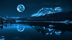 moonlight, Moon, Water, Lake, Pond, Mountain, Nature, Landscape, Trees, Forest, Winter, Blue HD Wallpaper Desktop Background