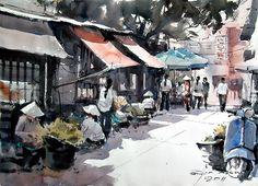 Old market in Hanoi (watercolor, 36x50 cm)