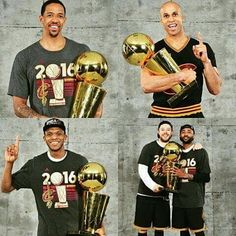 A photo collage of 5 players from the 2016 Cleveland Cavaliers Championship Team - Channing Frye, Richard Jefferson, James Jones, Matthew Dellavedova & Maurice Williams Lebron James Kyrie Irving, Lebron James Cavs, Cavs Basketball, Basketball Jones, Cleveland Caveliers, Cleveland Indians, We Are The Champions, Nba Champions, Clevland Cavs