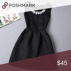 "Black Fit & Flair Dress with Rhinestone Necklace HERE ~ You're Best Seller is Back in Black with a Rhinestone Collar to boot! (Please see Pink dress as a reference) This perfect little black dress will fit in for every occasion. Dress it up with your rhinestone collar or just remove it for a more casual look. Material Brocade Cloth. Fit and Flair Dress. Runs small so size up! Small Length 30"" Medium Length 31"" Large Length 32"" XL 33"". No Trades. Price is Firm Unless Bundled. 10% Off 2 Items…"