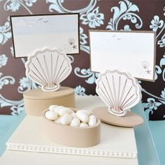 Shell+Place+Card+Favor+Boxes+with+Designer+Place+Cards+(set+of+12)