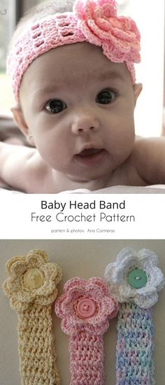 Headband with Flower Free Crochet Patterns Crochet Baby Hats Free Pattern, Baby Girl Crochet, Crochet Bebe, Newborn Crochet, Baby Blanket Crochet, Free Crochet, Crochet Patterns, Crochet Hats, Knit Hats