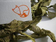 Little Resting Fox Olive Wood Stamp