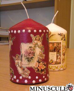 Svíčky zdobené technikou Decoupage.