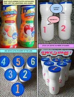 Collect some baby treat containers and add some cute stickers to the lids, then turn them into a fun bowling game for your little ones.