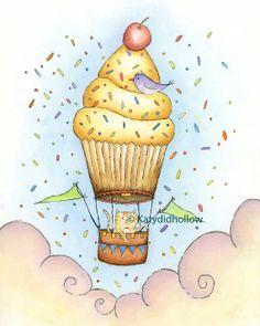 CUPCAKE Hot Air Balloon Art Print by Katydidhollow on Etsy, $20.00