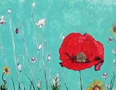 Poppy flower against a robin's egg blue sky. Acrylic and pen painting on wood… Drawing Wallpaper, Flower Wallpaper, Cottage Style Decor, Favorite Paint Colors, Robins Egg, Red Poppies, Red Background, Flower Art, Colorful Backgrounds