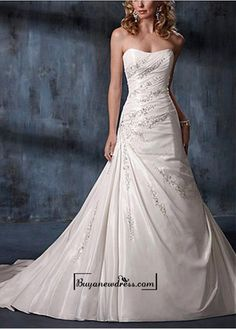 A Stunning Taffeta Dropped Neckline A-line Wedding dress
