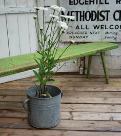 Solid Wood Green Painted Bench by Restored2bloved on Etsy