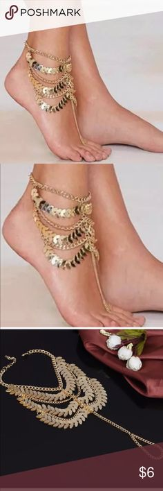 ❗️❗️New Gold Tone Gypsy Foot Sandal Anklet New in package-Gold tone-** see last pic for item details ** Boutique Jewelry