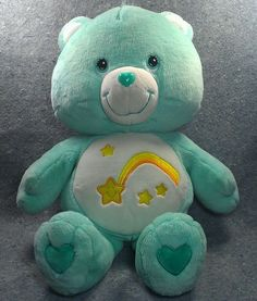 """Remember this cuddly guy? 2002 Care Bears WISH Bear Teal Large 26"""" Rainbow Star Heart Nose 66cm #CareBears"""