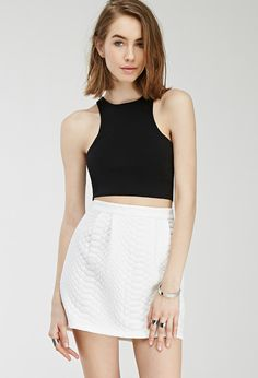 Pleated Scale Mini Skirt