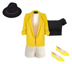 """""""Yellow,Black and White outfit for a walk downtown!"""" by raedonna ❤ liked on Polyvore featuring Chicwish, Alice + Olivia, River Island and Summit by White Mountain"""