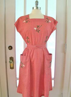 Vintage 50s60s Red Gingham Swirl Wrap Dress by RubyLemons on Etsy, $74.00