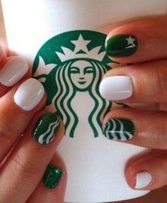 Cool Starbucks manicure nail art❣ Mix & Match Family