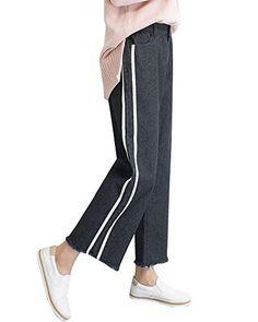 76571f804c4c9 Jeans Femme Denim Pantalon Large Lâche Pantalons Droit Rayures Casual  Pantacourt Noir L