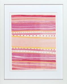 """Red & Pink Beach Blanket"" by Ellen Levine Dodd - Monoprint on heavy archival cotton rag paper framed in contemporary white frame. - 12"" x 15"" - available for sale"