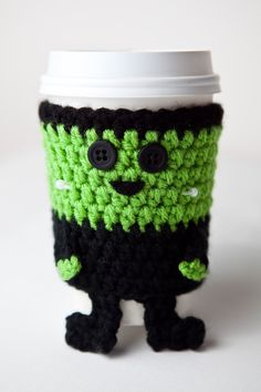#Crocheted Cuddly Frankenstein's Monster Coffee Cup Cozy $12.00