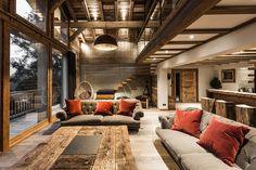 Chalet des gens • Nos réalisations • - SARL PELLE CHAMONIX Chalet Chic, Chalet Style, Ski Chalet, Chalet Interior, Living Room Interior, Ski Lodge Decor, Chalet Design, Design Design, Cabin Interiors