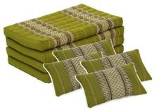 Inspiration Zone Set: Foldable Matress + 4 Pillows in Traditional Thai Design Bamboogreen (All Filled with 100% Kapok) by Handelsturm. $160.00. Inspiration Zone Set includes one foldable mattress (79x32 inches) and 4 matching pillows in traditional Thai Design of subtle green.  All cushions have double stitched seams, and are stuffed with 100% Kapok for superior quality. Kapok is light, hygienic, hypoallergenic, very buoyant, breathable, resilient, and environmentally f...