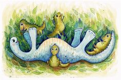 Dinosaur Playtime Print by Monica Johnson