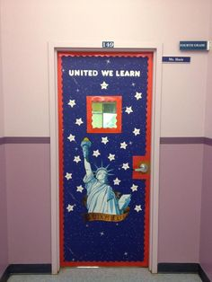 My new patriotic classroom door - I love the 'united we learn' phrase!