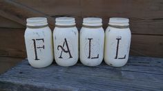 Reversible FALL/NOEL  Mason Jar Set! by ToastyBarkerBoutique on Etsy