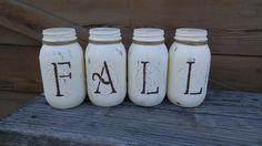 Reversible FALL/NOEL  Mason Jar Set! by ToastyBarkerBoutique on Etsy