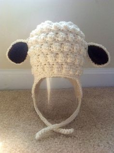 Little lamb  Crochet Hat with Earflaps. Girl crochet hat. Boys crochet hat. Baby Hat