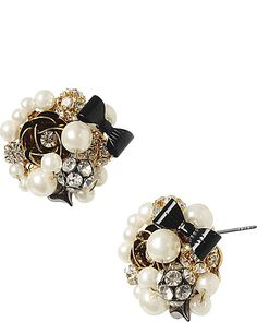 BUTTON PEARL ANTIQUE SILVER EARRING WHITE accessories jewelry earrings fashion