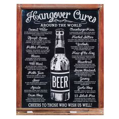 Decorate your bar, recreational room, or kitchen with the Hangover Cures Metal Bar Sign. Featuring traditional hangover remedies from around the world, it makes a fun (and possibly useful!) addition to any casual space. There is no guarantee