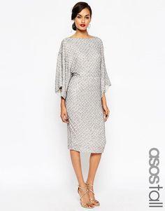 ASOS TALL RED CARPET Sequin Grid Kimono Midi Dress in Grey UK 10/EU 38/US 6