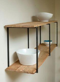 """Mensola - Libreria realizzata in ferro battuto e legno massello - Wanos """"Wood & Design"""""""