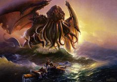 HP Lovecraft inspired art Cthulhu And The Ninth Wave by Oliver Wetter Lovecraft Cthulhu, Hp Lovecraft, Call Of Cthulhu, Mythological Creatures, Mythical Creatures, Fantasy Creatures, Warhammer 40k, Dungeons And Dragons, Fantasy World