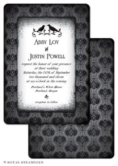 Edgar Allan Poe Wedding - Royal Steamline  THESE WERE MY WEDDING INVIATIONS!!!