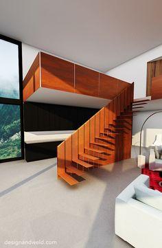 Unique COR-TEN steel stairs, design proposal for a private client, Sâles, Switzerland. 2014   Design+Weld   designandweld.com