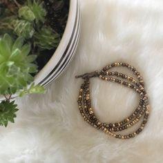 Nwt Three Strand Gold And Bronze Glass Bracelet
