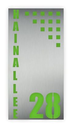 Hausnummer On End grün Led, Design, Business Names, House Numbers, Stainless Steel, Shop Signs, Colors, Design Comics