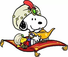 Snoopy and Woodstock on a magic carpet with a genie lamp.