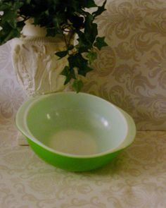 Vintage Pyrex Retro Kitchen Primary color Green double handle 2 quart Casserole Dish Ovenware Bake ware Serving dish on Etsy, $18.50
