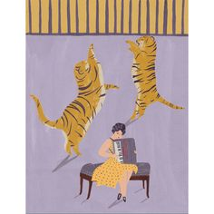 Tijgers en accordeonist circus giclee print ($24) ❤ liked on Polyvore featuring home, home decor, wall art and giclee wall art