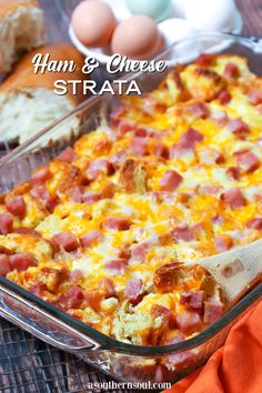 Egg Casserole With Ham, Egg Bake With Bread, Ham Egg Bake, Breakfast Casserole With Bread, Overnight Breakfast Casserole, Brunch Casserole, Easter Breakfast Recipes, Breakfast Meals, Easter Brunch
