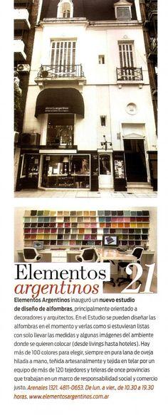Revista Living - Elementos Argentinos inaugura un Estudio de Diseño de Alfombras a Medida.