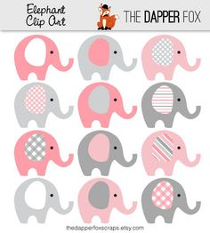 Pink and Grey Elephant Clip Art INSTANT DOWNLOAD Baby girl