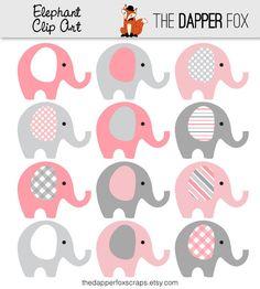 Rosa y gris elefante Clip Art descargar por TheDapperFoxScraps