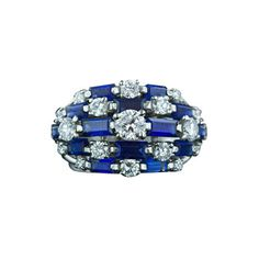 'Oscar Heyman' Diamond and Sapphire Dome Ring