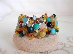 Bracelet  with amber, agate, lava, jade, opal  from Jewelry&Hand Made by DaWanda.com