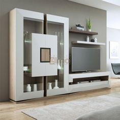 🌟 💖 🌟 💖 Composition wall TV contemporary chne de France and lacquer TWIN Living Room Tv Unit Designs, Living Room Wall Units, Ceiling Design Living Room, Classic Dining Room Furniture, Tv Unit Furniture, Tv Unit Decor, Tv Wall Decor, Wall Tv, Pooja Room Door Design